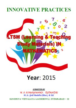 My Study materials – Kumar – LTSM (Learning and Teaching Study